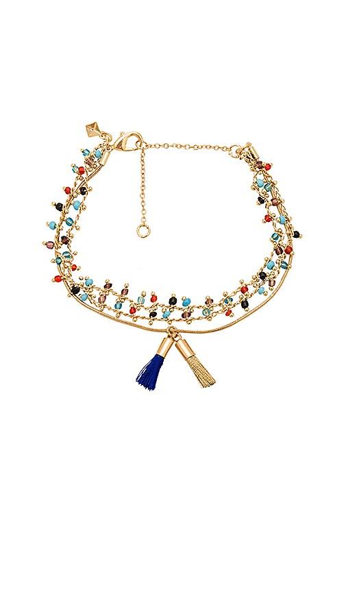 Rebecca Minkoff Beaded Tri-Layer Bracelet in Metallic Gold