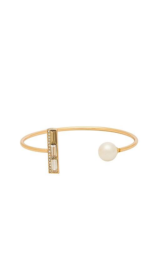 Rebecca Minkoff Pearl and Stone Cuff Bracelet in Metallic Gold