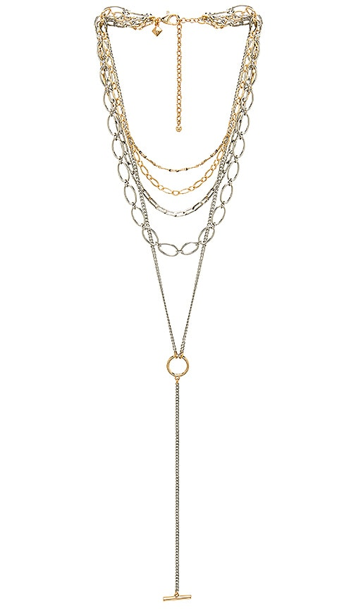Rebecca Minkoff Layered Chains Necklace in Metallic Silver