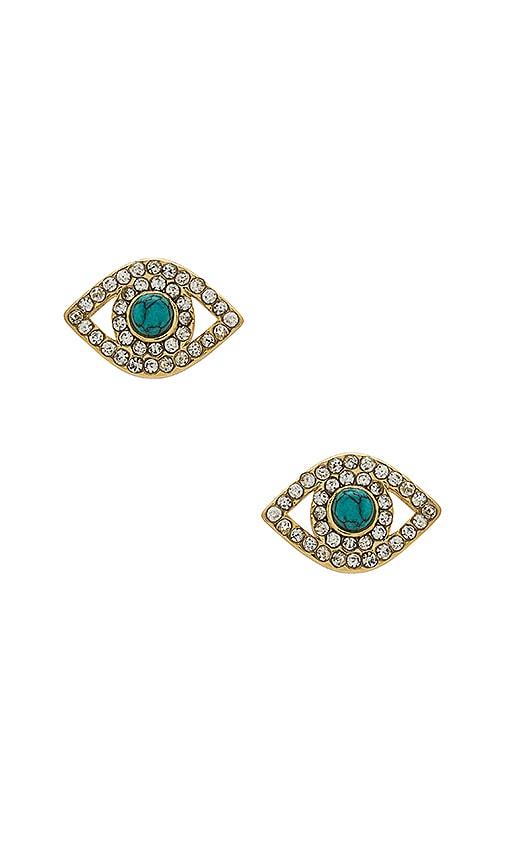 Rebecca Minkoff Evil Eye Stud Earrings in Metallic Gold