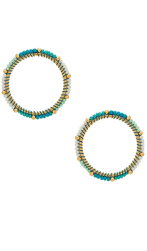 Rebecca Minkoff Front Facing Beaded Hoop Earrings in Turquoise