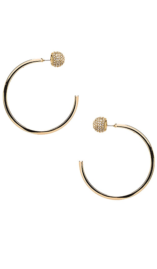 Pave Ball Topped C Hoops