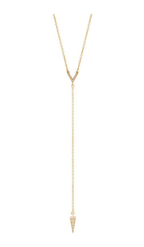 Rebecca Minkoff Crystal Cone Y Necklace in Metallic Gold