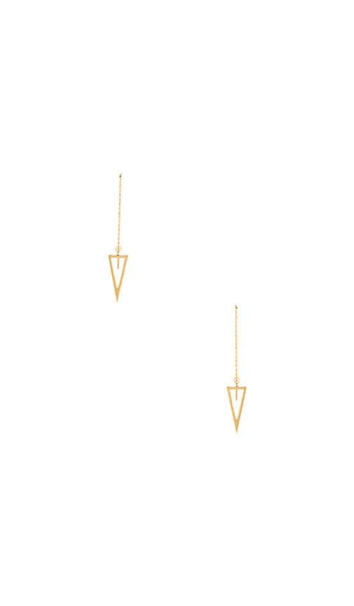 Rebecca Minkoff Triangle Long Chain Drop Earrings in Metallic Gold