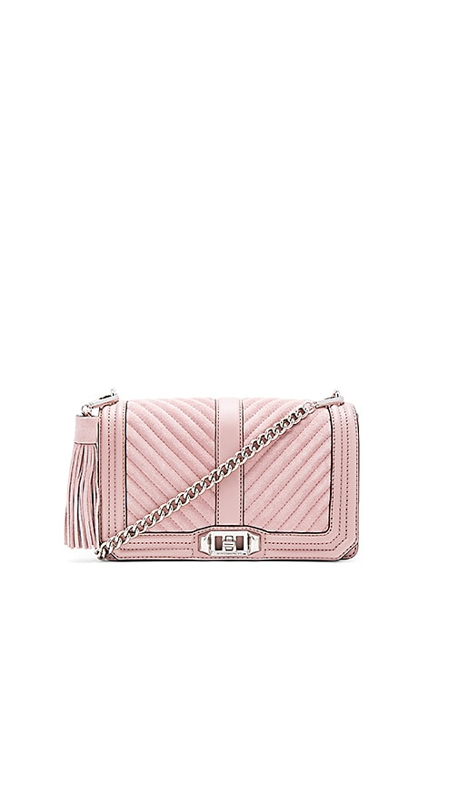 Rebecca Minkoff Chevron Quilted Love Crossbody Bag in Mauve