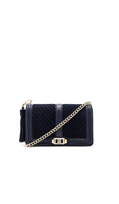 Rebecca Minkoff Chevron Quilted Love Crossbody Bag in Navy
