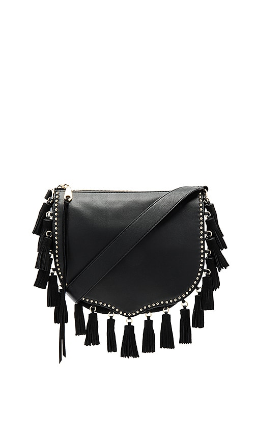 Rebecca Minkoff Large Multi Tassel Saddle Bag in Black