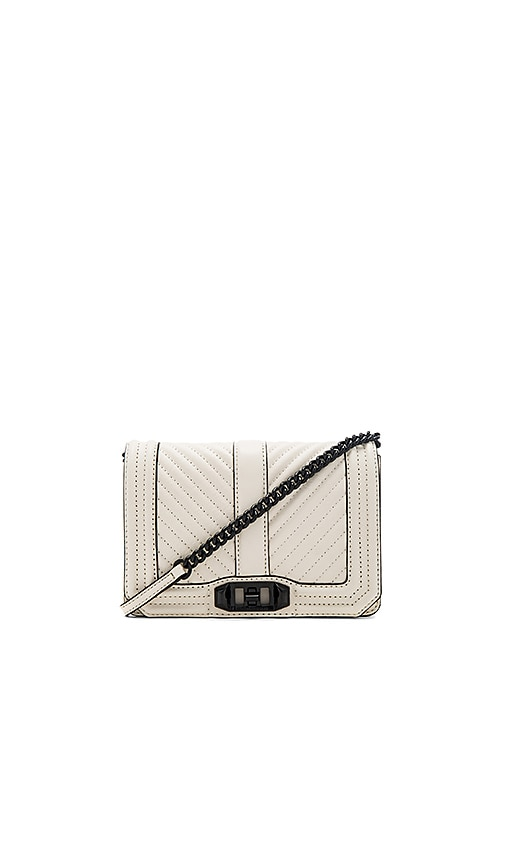 Rebecca Minkoff Chevron Quilted Small Love Bag in Ivory