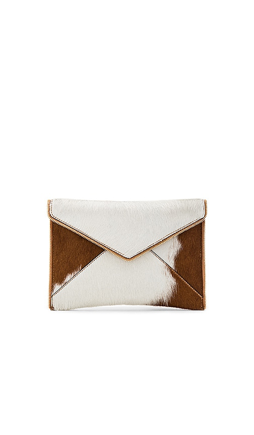 Rebecca Minkoff Leo Calf Hair Clutch in Brown