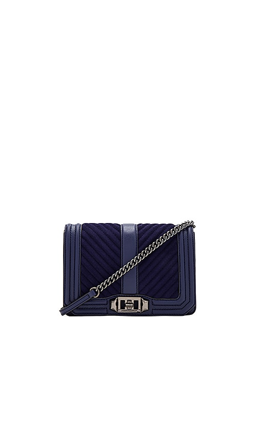 Rebecca Minkoff Chevron Quilt Small Love Bag in Navy