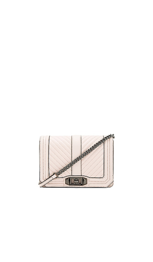 Rebecca Minkoff Chevron Quilt Small Love Bag in Blush