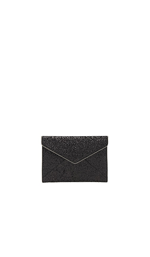 Rebecca Minkoff Glitter Leo Clutch in Black