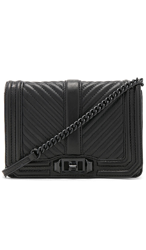 low cost release info on best deals on Rebecca Minkoff Chevron Quilted Small Love Crossbody Bag in Black ...