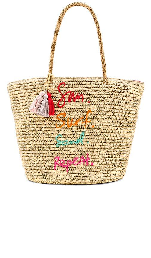 Rebecca Minkoff Sun Surf Sand Repeat Straw Tote in Beige