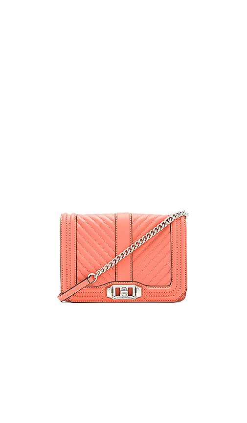 Rebecca Minkoff Chevron Quilted Small Love Bag in Coral