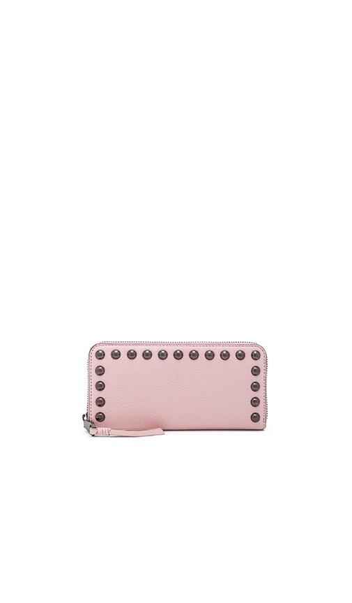 Rebecca Minkoff Ava Zip Studded Wallet in Blush