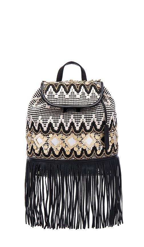 Rebecca Minkoff Fringe Taj Backpack in Black & White Multi