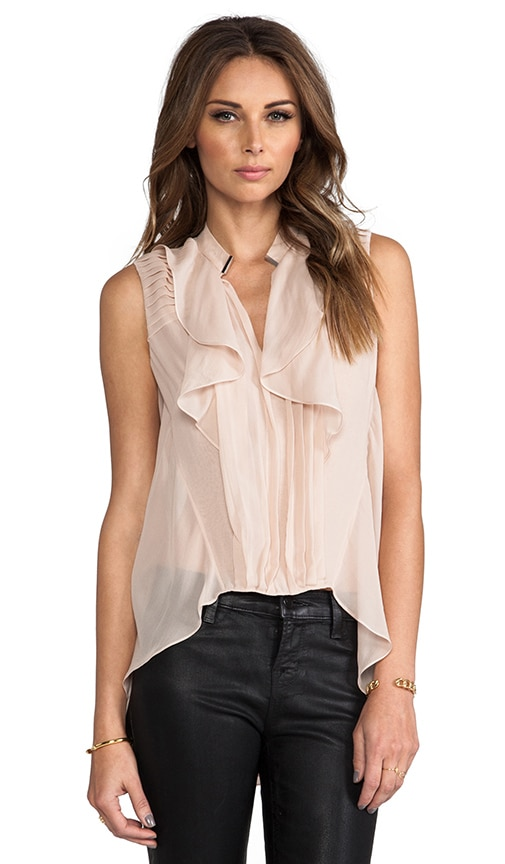 Pleated Silk High Low Top