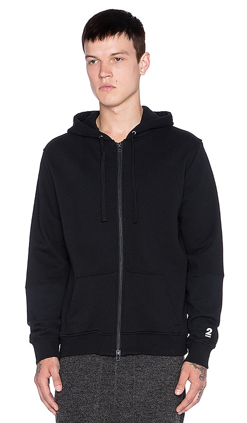 Robert Geller Seconds Zip Hoodie in Black
