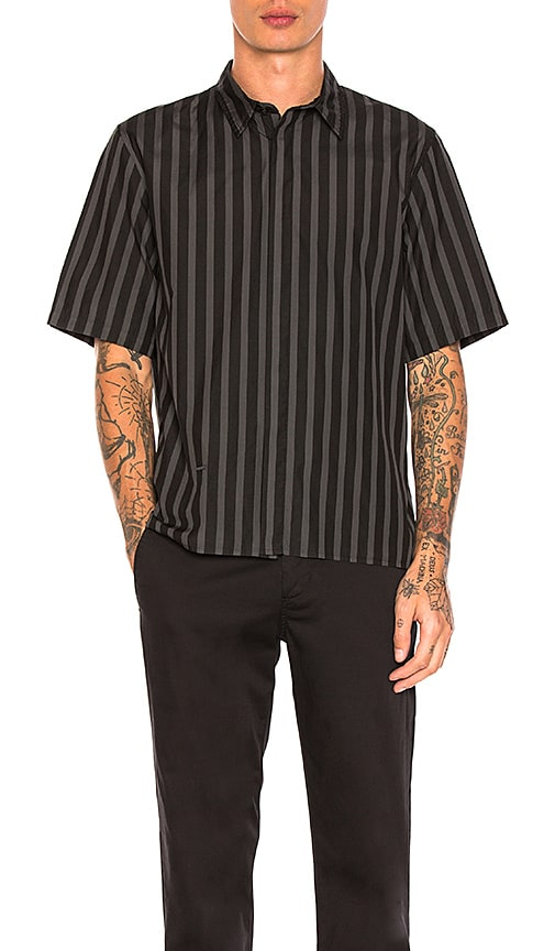 Robert Geller Over Dyed Stripe Shirt in Black