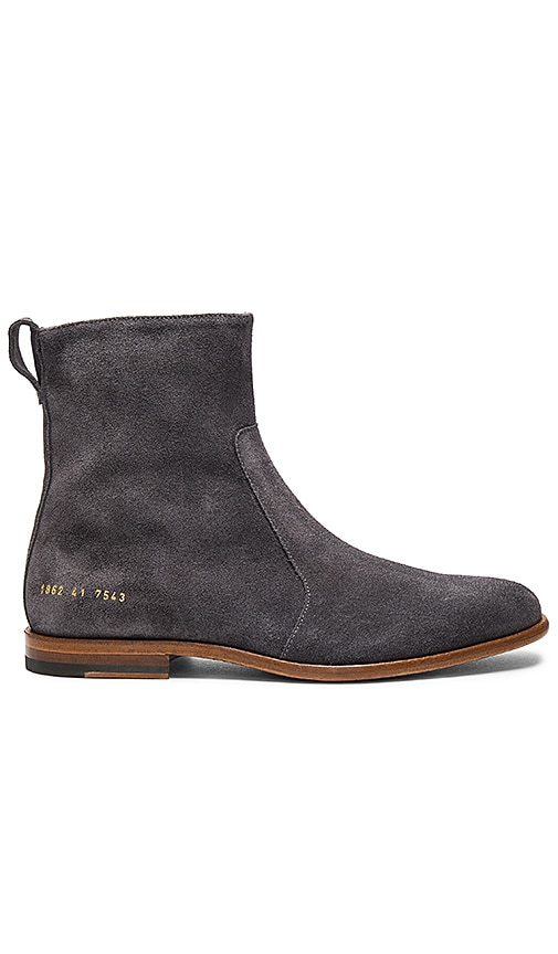 Robert Geller x Common Projects Chelsea Boots in Charcoal