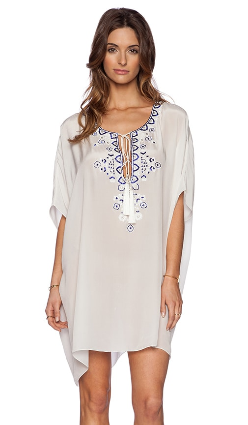 ROCOCO SAND Back to Greece Lace Up Mini Dress in White & Blue