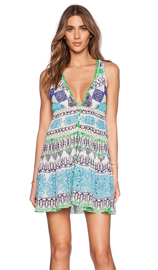 ROCOCO SAND Crepe Mini Dress in Blue & Green Cross Print