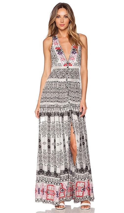 ROCOCO SAND Layer Maxi Dress in Black & White Cross Print