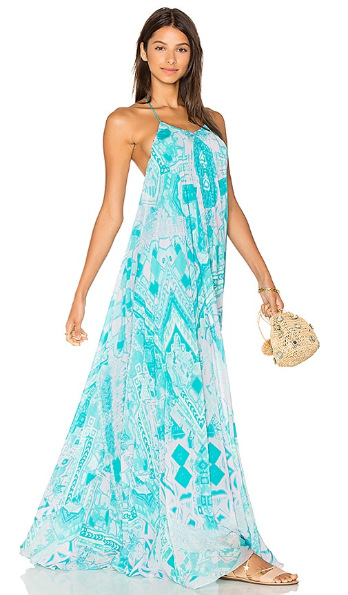 ROCOCO SAND Halter Maxi Dress in Blue