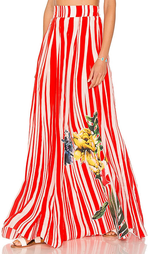 ROCOCO SAND High Waist Maxi Skirt in Red