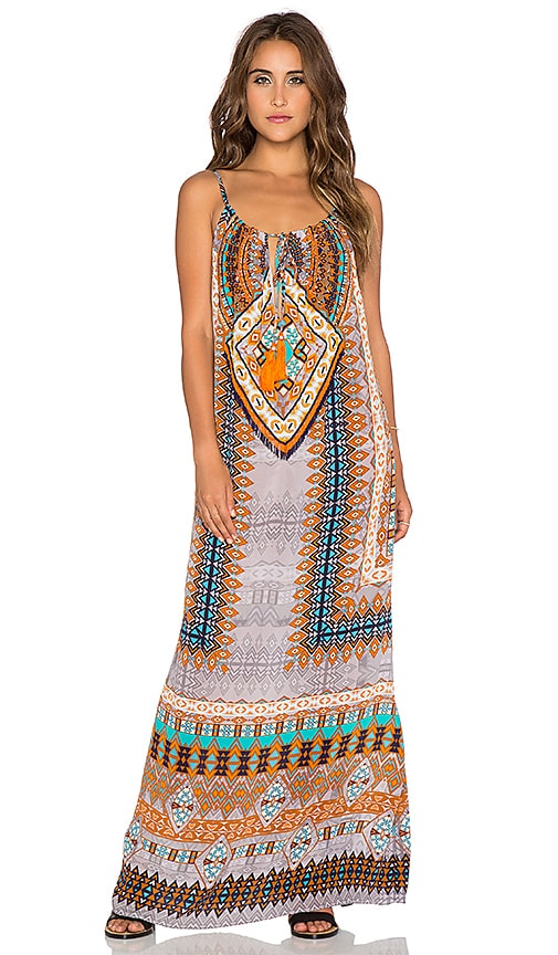 ROCOCO SAND The Master Maxi Dress in Blue Brown Print