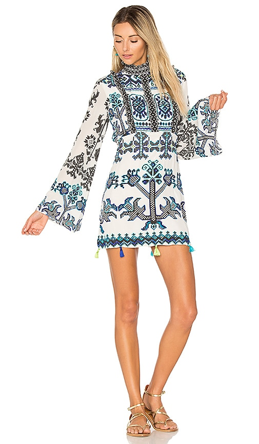 ROCOCO SAND Bell Sleeve Mini Dress in Black