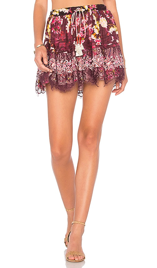 ROCOCO SAND Floral Skirt in Burgundy