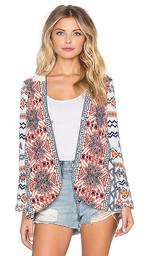 ROCOCO SAND Silk Crepe Jacket in Orange & Blue Cross Stitch