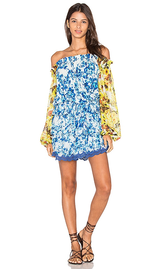 ROCOCO SAND Romantic Florals Ruffle Dress in Blue