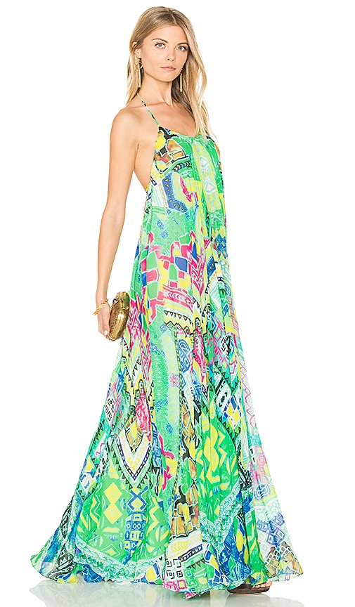 ROCOCO SAND Long Watercolor Dress in Green