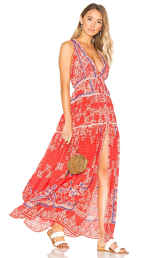 ROCOCO SAND Deep V Maxi Dress in Red