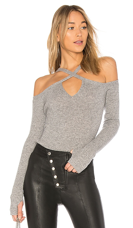 ROI Cut and Cross Sweater in Gray