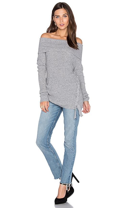ROI Rib Off Shoulder Sweater in Gray