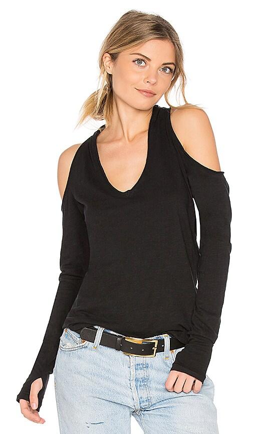 ROI Tie Cold Shoulder Blouse in Black