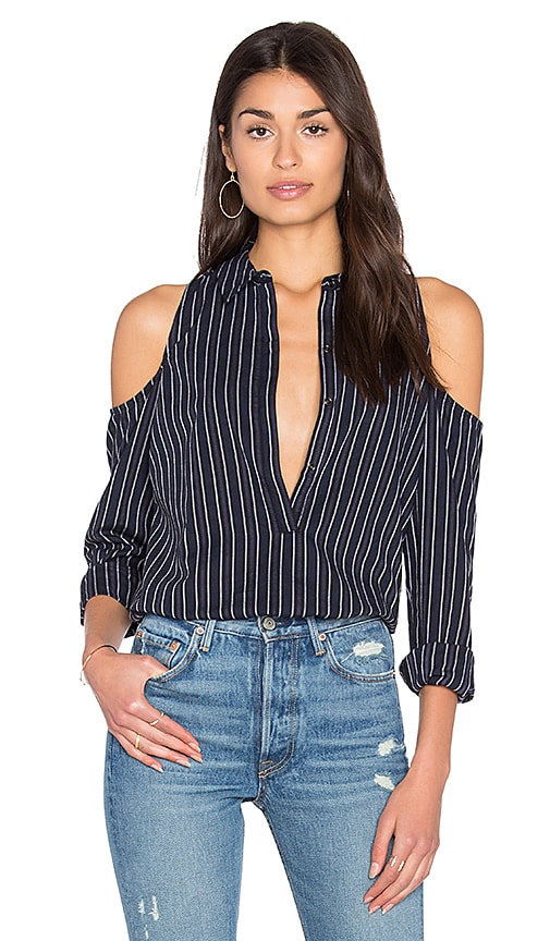 ROI Dobby Stripe Cold Shoulder Shirt in Black