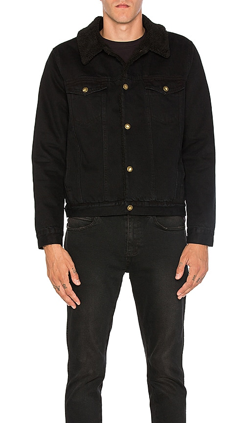 ROLLA'S Denim Faux Sherpa Jacket in Black