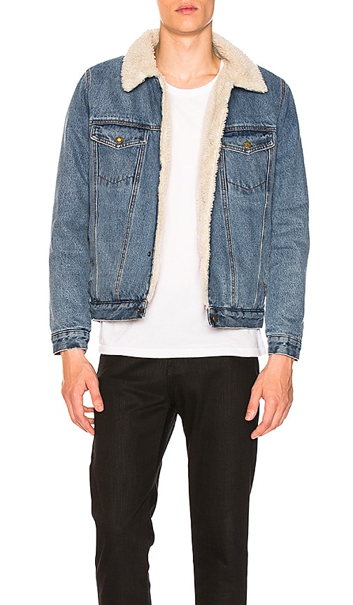 ROLLA'S Denim Sherpa Faux Fur Jacket in Stone Wash