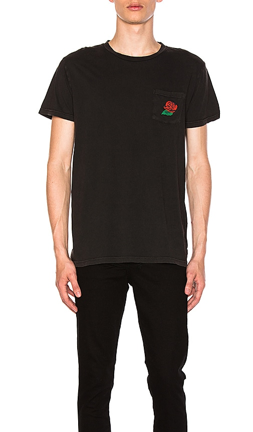 ROLLA'S Wild Rose Pocket Tee in Black