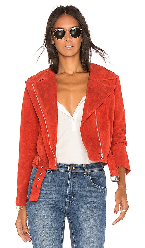ROLLA'S Hutchence Suede Jacket in Rust