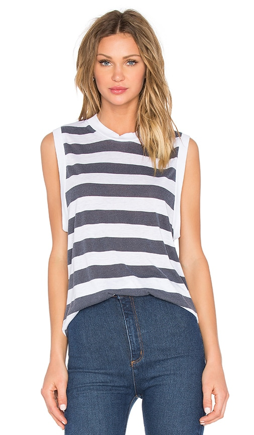 ROLLA'S Stripe Muscle Tank in Black