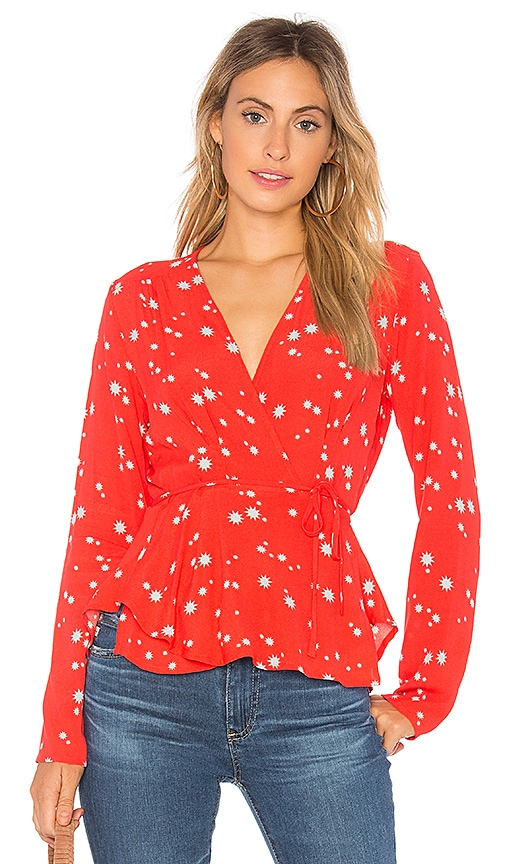 ROLLA'S Dancer Wrap Blouse in Red