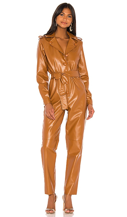 Ronny Kobo  Lara Faux Leather Jumpsuit
