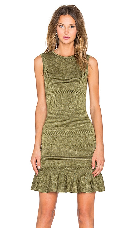 Ronny Kobo Portia Ruffle Dress in Olive