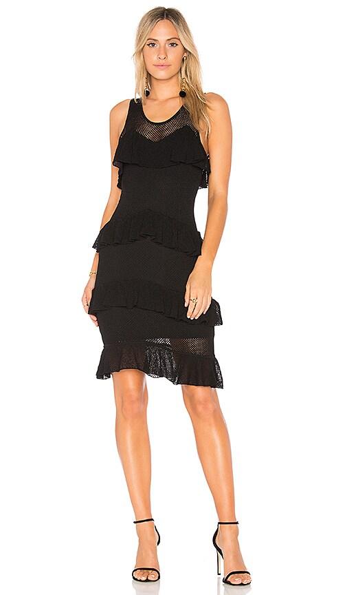 Ronny Kobo Talulah Fishnet Knit Dress in Black